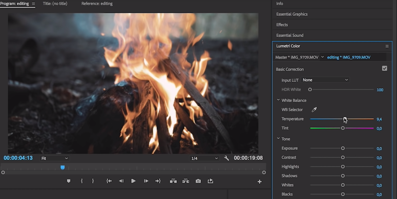 Colouring your footage