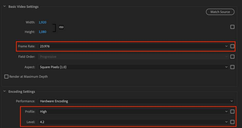 Basic video settings and bitrate settings for YouTube