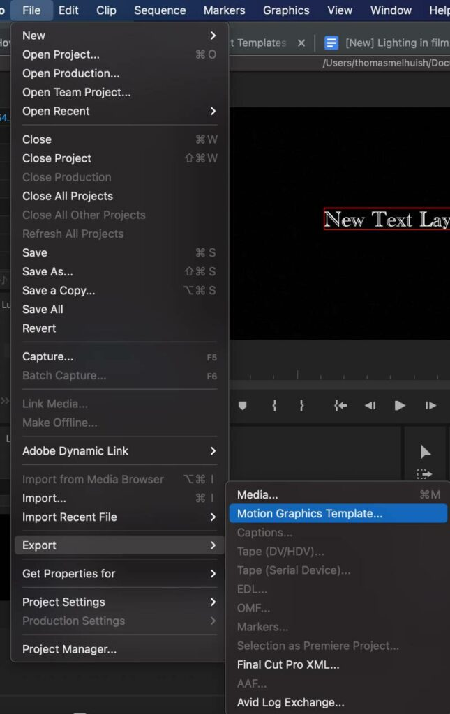 How to create a text template in Premiere Pro
