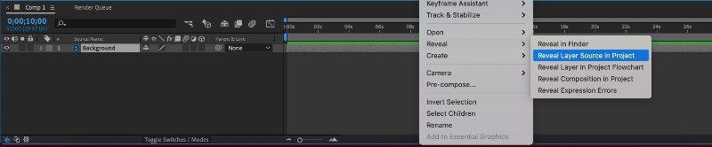 I can't find my layer in the project panel?