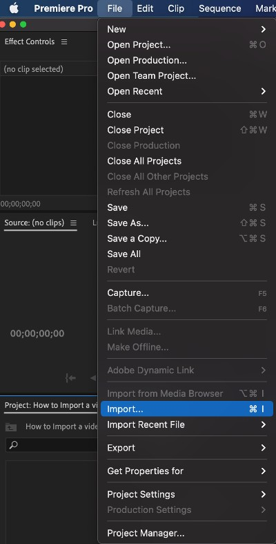 How to Import - importing your clip into Premiere Pro