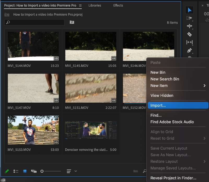 Import your footage using the Project Window