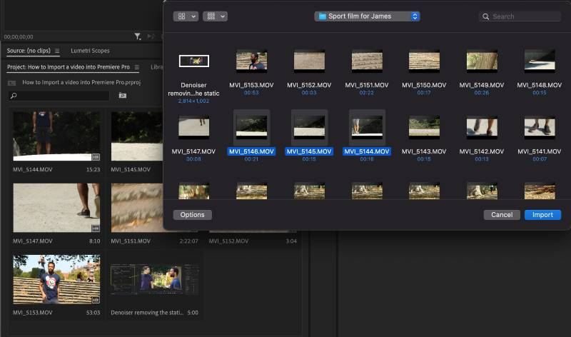 Imported footage using the Project Window