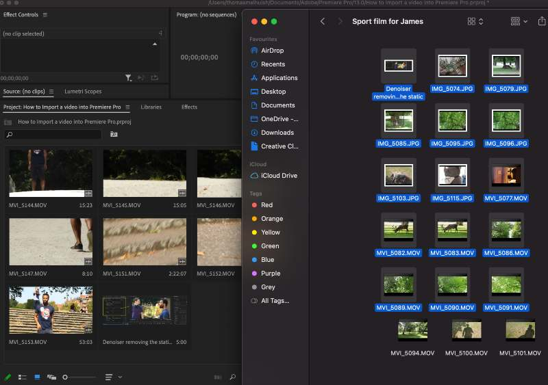 Drag and Drop your files into Premiere Pro