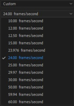 Create a sequence and select 24 frames/second